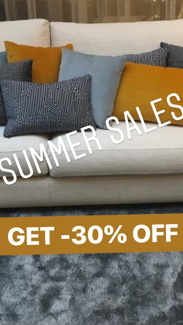 -30% op showroom zetels, sofa en tapijt. Uitverkoop van deco kussens.